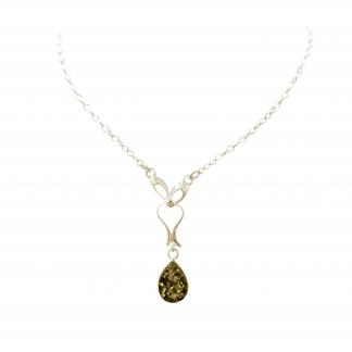 Jantárový náhrdelník zo striebra a zeleného jantáru