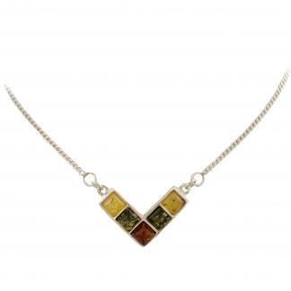 Jantárový náhrdelník zo striebra a prírodného jantáru v rôznych farbách