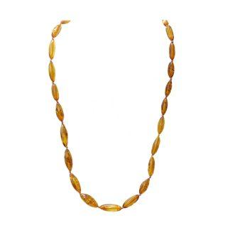 Klasický jantárový náhrdelník z prírodného jantáru koňakovej farby