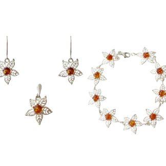 Set jantárových šperkov Ľadový kvet koňakový