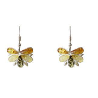 Jantárové náušnice Poľný motýľ viacfarebné
