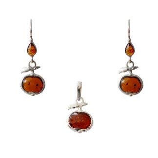 Set jantárových šperkov Jablko koňakový