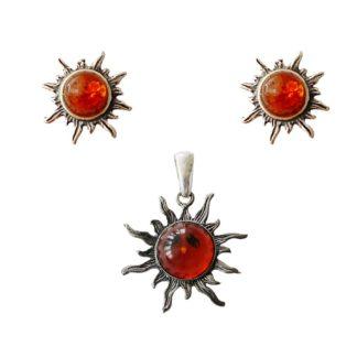 Set jantárových šperkov Slnko koňakový