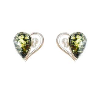 Jantárové náušnice Láskyplné srdce zelené