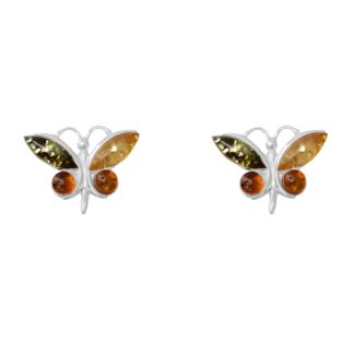 Jantárové náušnice Motýľ Dúhovec viacfarebné medové