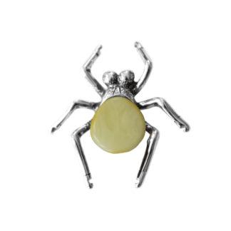 Jantárová brošňa Pavúčik krémová