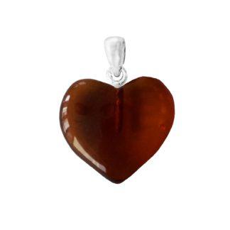 Jantárový prívesok Hrejivé srdce višňový
