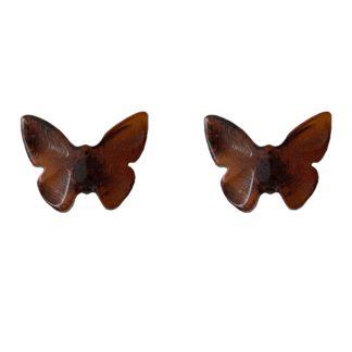 Jantárové náušnice Motýlik višňové