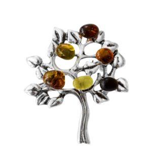 Jantárová brošňa Strom života viacfarebná