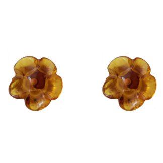Jantárové náušnice Rozvinutý kvet medové