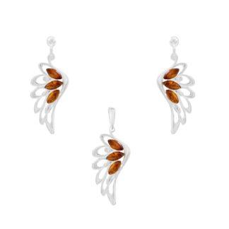 Set jantárových šperkov Anjelske krídla koňakový