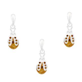 Set jantárových šperkov Lienky koňakový