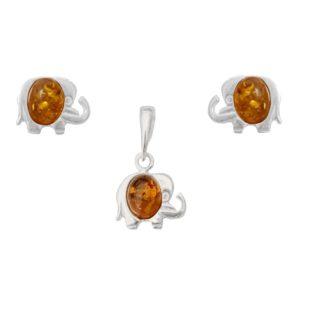 Set jantárových šperkov Sloník koňakový