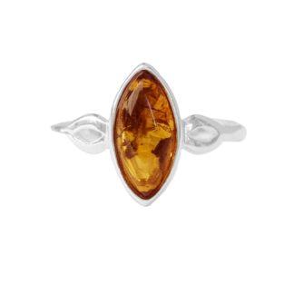 Jantárový prsteň Ako list vo vetre koňakový
