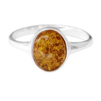 Jantárový prsteň Čistota koňakový