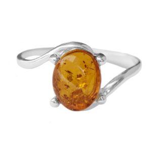 Jantárový prsteň Ovály koňakový