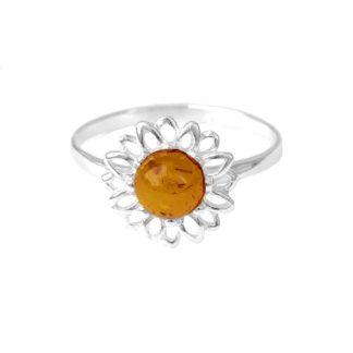 Jantárový prsteň Slnečnica koňakový