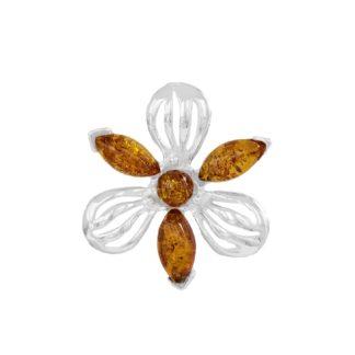 Jantárový prívesok Trojjediný kvet koňakový
