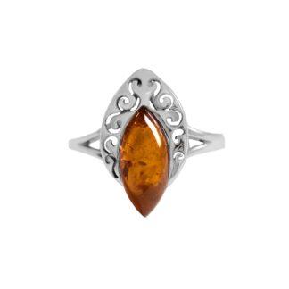 Výrazný jantárový prsteň zo striebra
