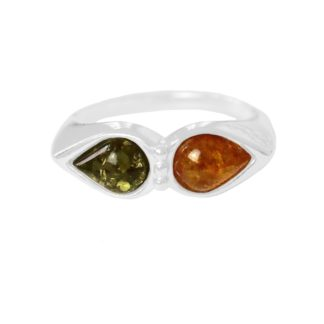 Jantárový prsteň zo striebra s dvomi kúskami pravého jantáru koňakovej a zelenej farby