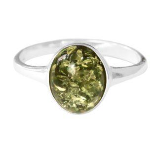 Jantárový prsteň zo striebra so zeleným jantárom