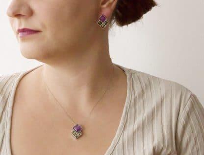 Strieborné šperky s jantárom a ametystom