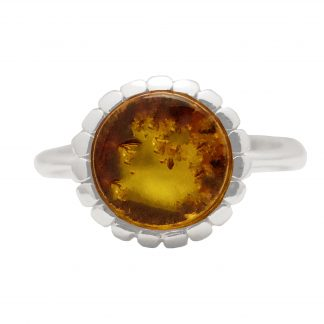 Jantárový prsteň zo striebra s očkom koňakovej farby